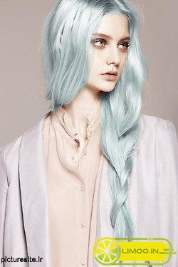 عکس رنگ موی یخی آبی