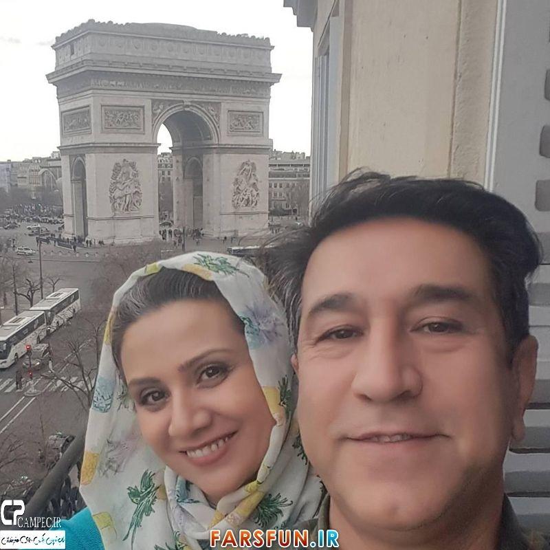عکس سلفی فلورا سام با همسرش مجید اوجی