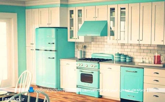 طراحی دکوراسیون آشپزخانه ایرانی با رنگ های شاد و جذاب