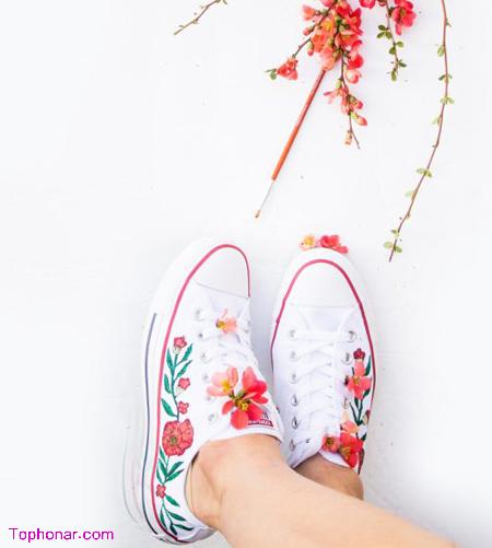 تغییر ظاهر کفش با نقاشی, آموزش تصویری نقاشی روی کفش